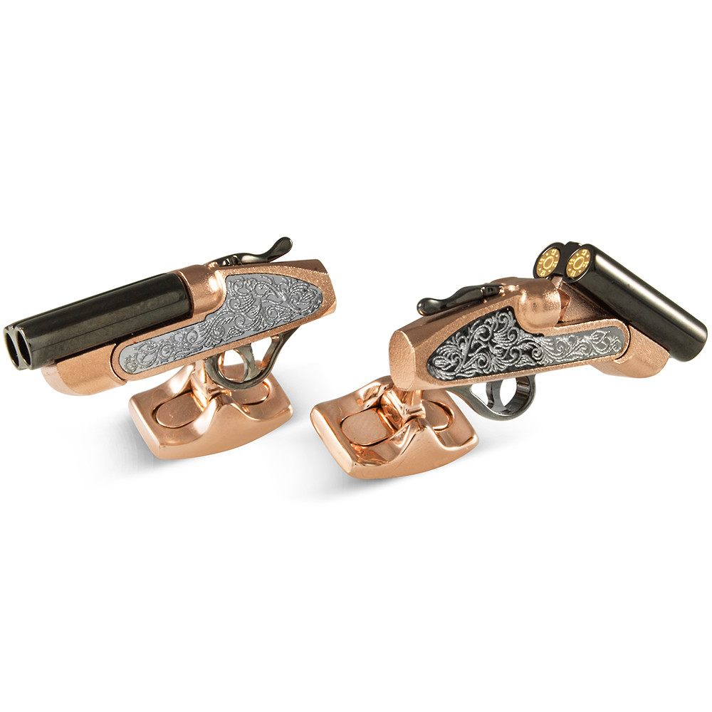 ​Silver & Gold-Plated Shotgun Cufflinks