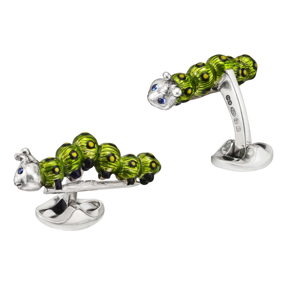 Silver Caterpillar Cufflinks