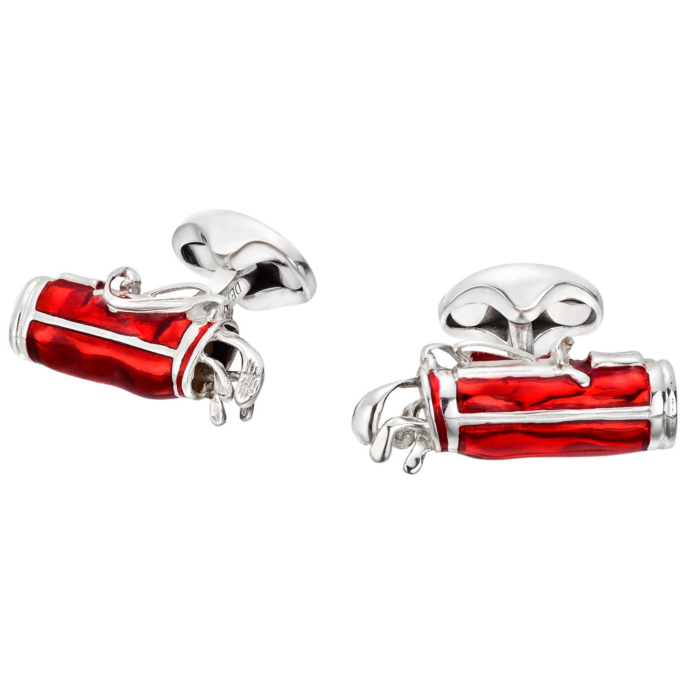 Silver & Red Enamel Golf Bag Cufflinks