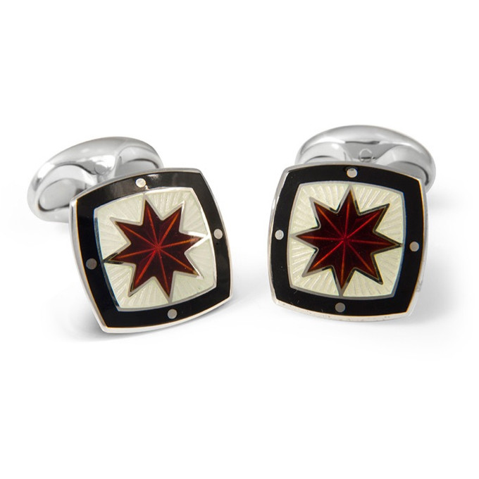 Red, Ivory & Black Enamel Star Silver Cufflinks