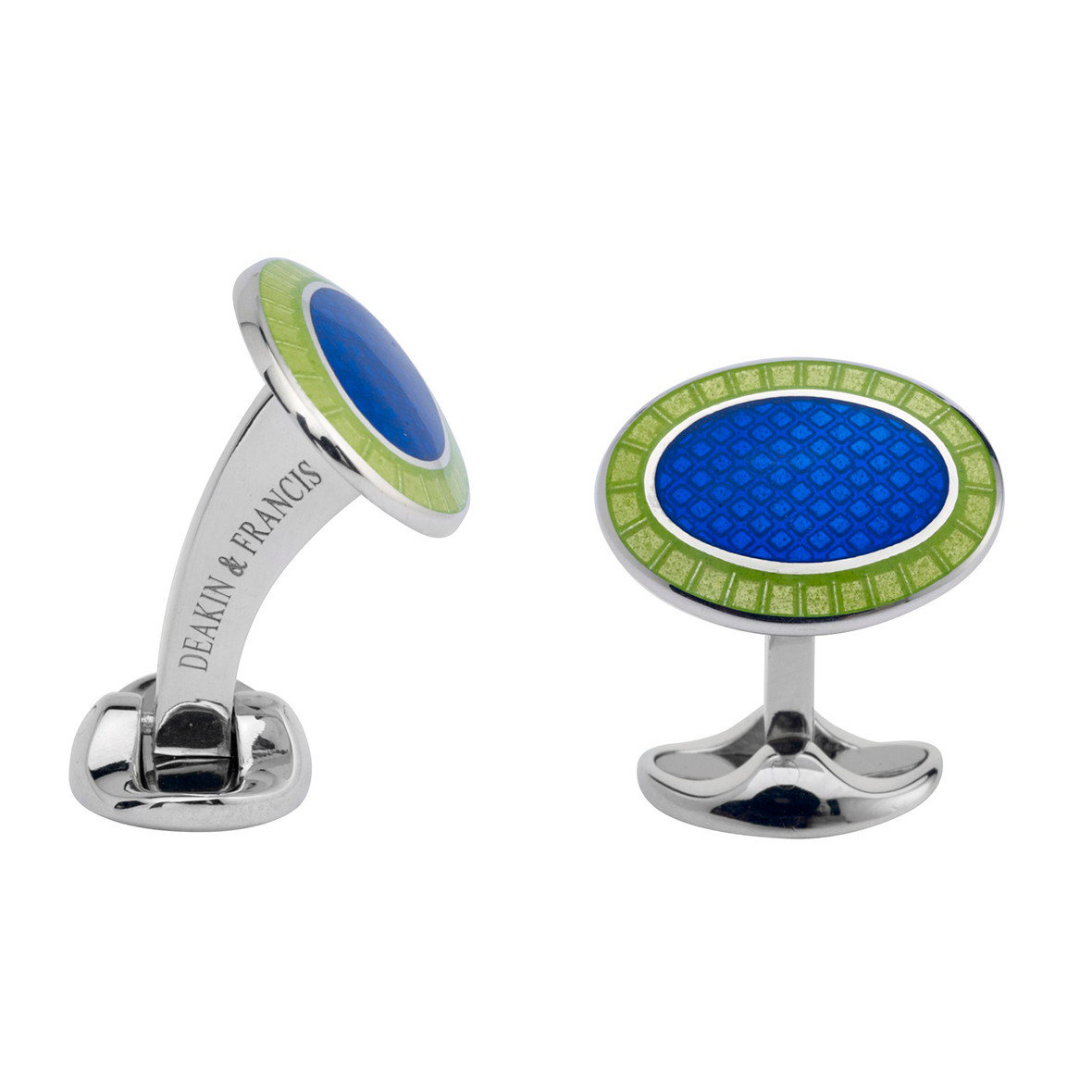 Silver Royal Blue & Lime Green Enamel Oval Cufflinks