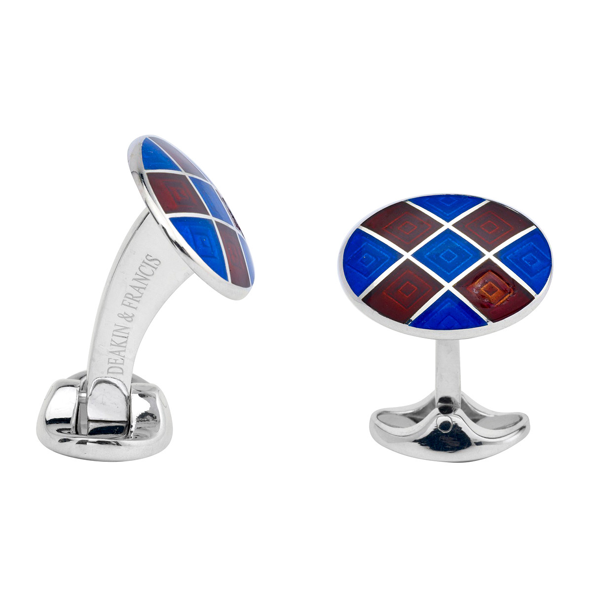 Silver Royal Blue & Maroon Red Enamel Harlequin Cufflinks
