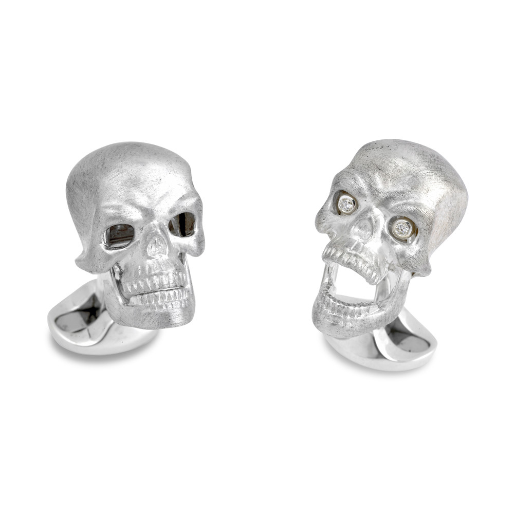 Silver Skull Cufflinks with Diamond Eyes