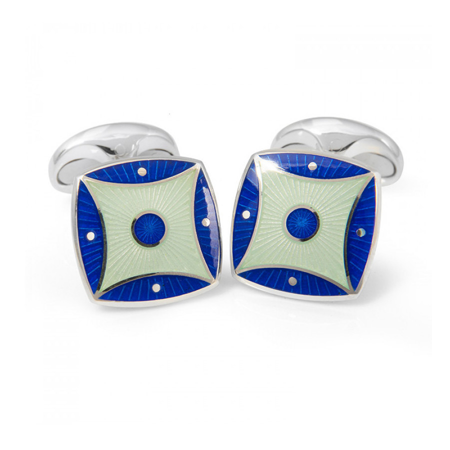 Royal Blue & Silver-Blue Enamel Cufflinks