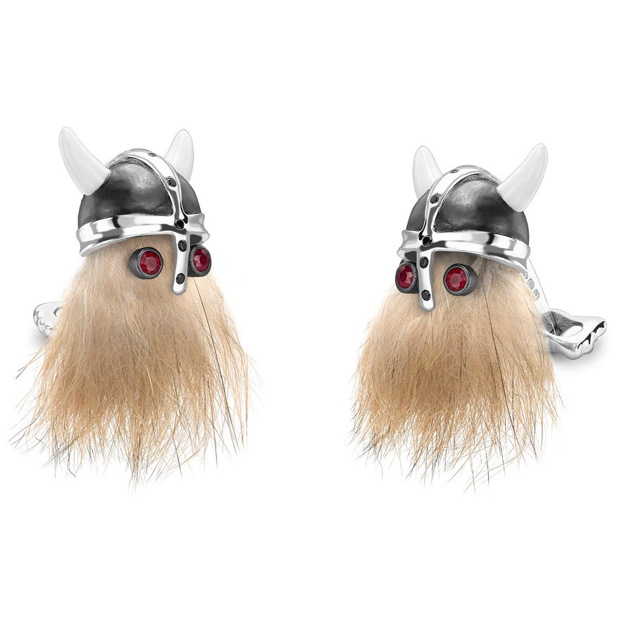 Viking Skull Cufflinks with Ruby Eyes