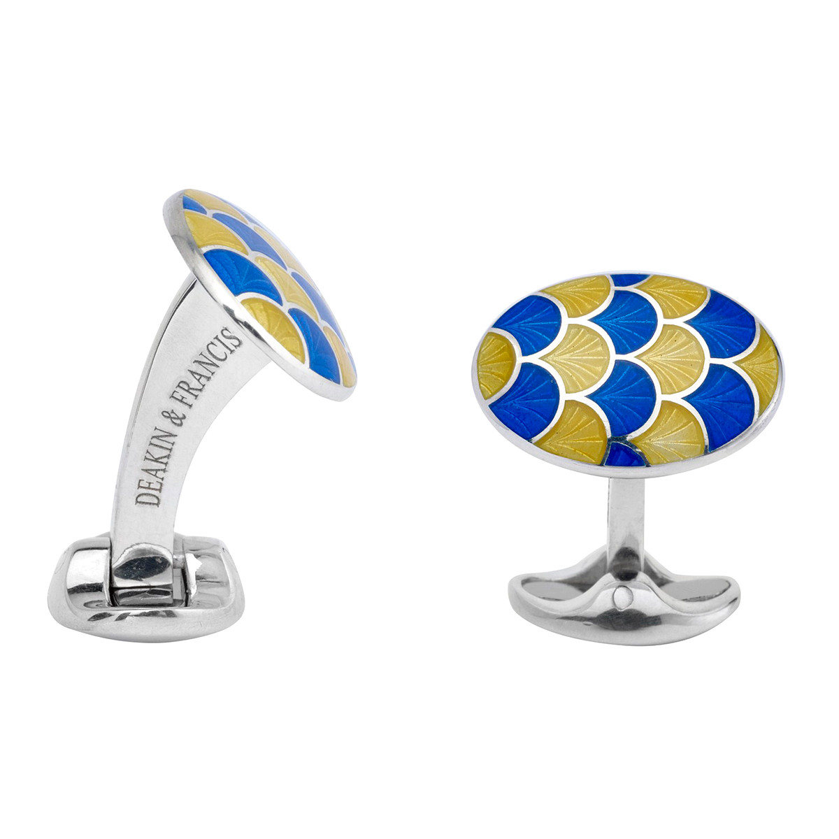 Silver Yellow & Royal Blue Enamel Wave Cufflinks