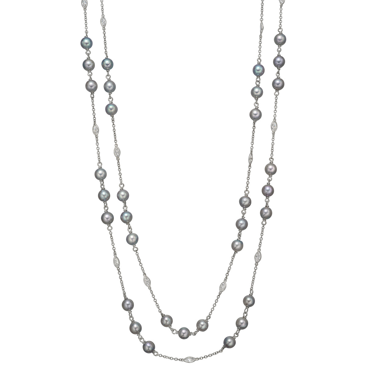 Diamond & Gray Pearl Long Chain Necklace