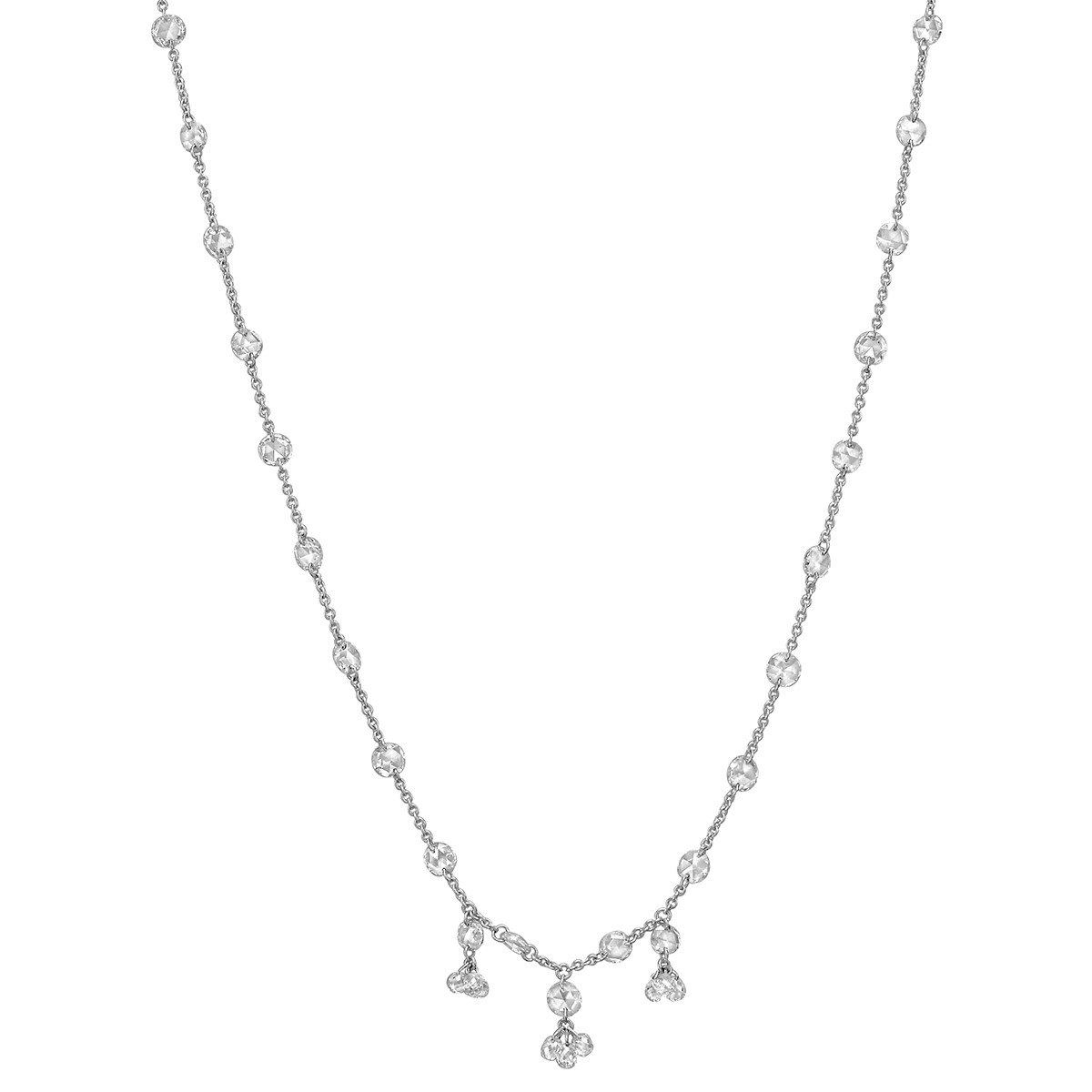 Diamond Chain Necklace with Briolette Clusters (3.64 ct tw)