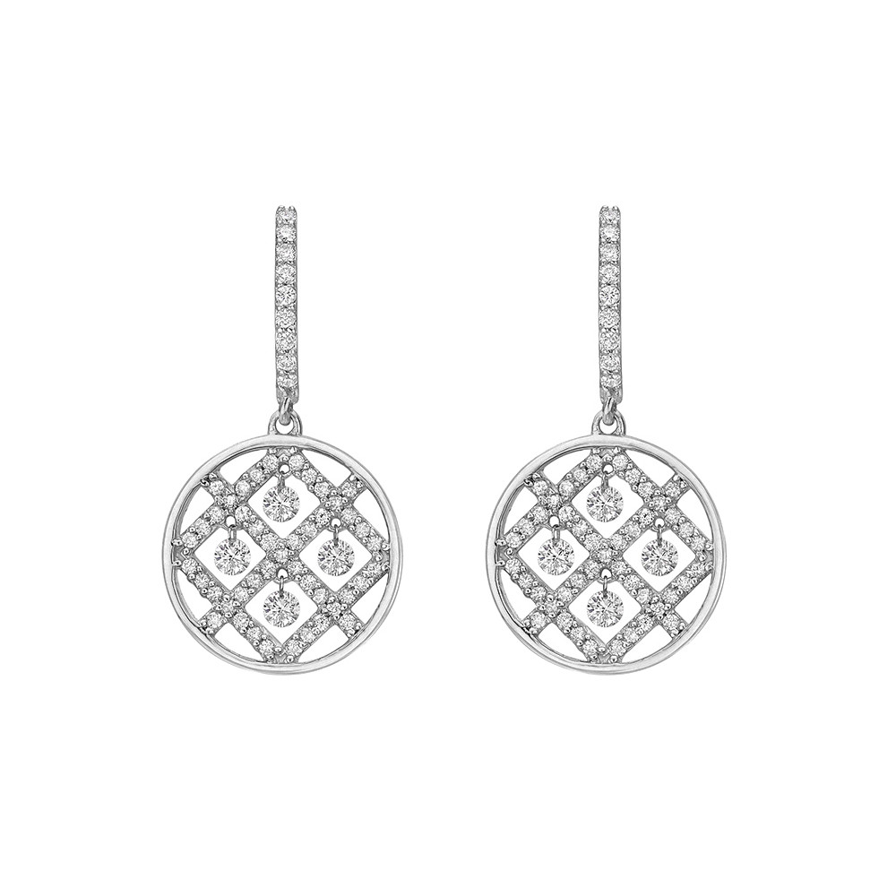 Diamond Circular Criss-Cross Drop Earrings