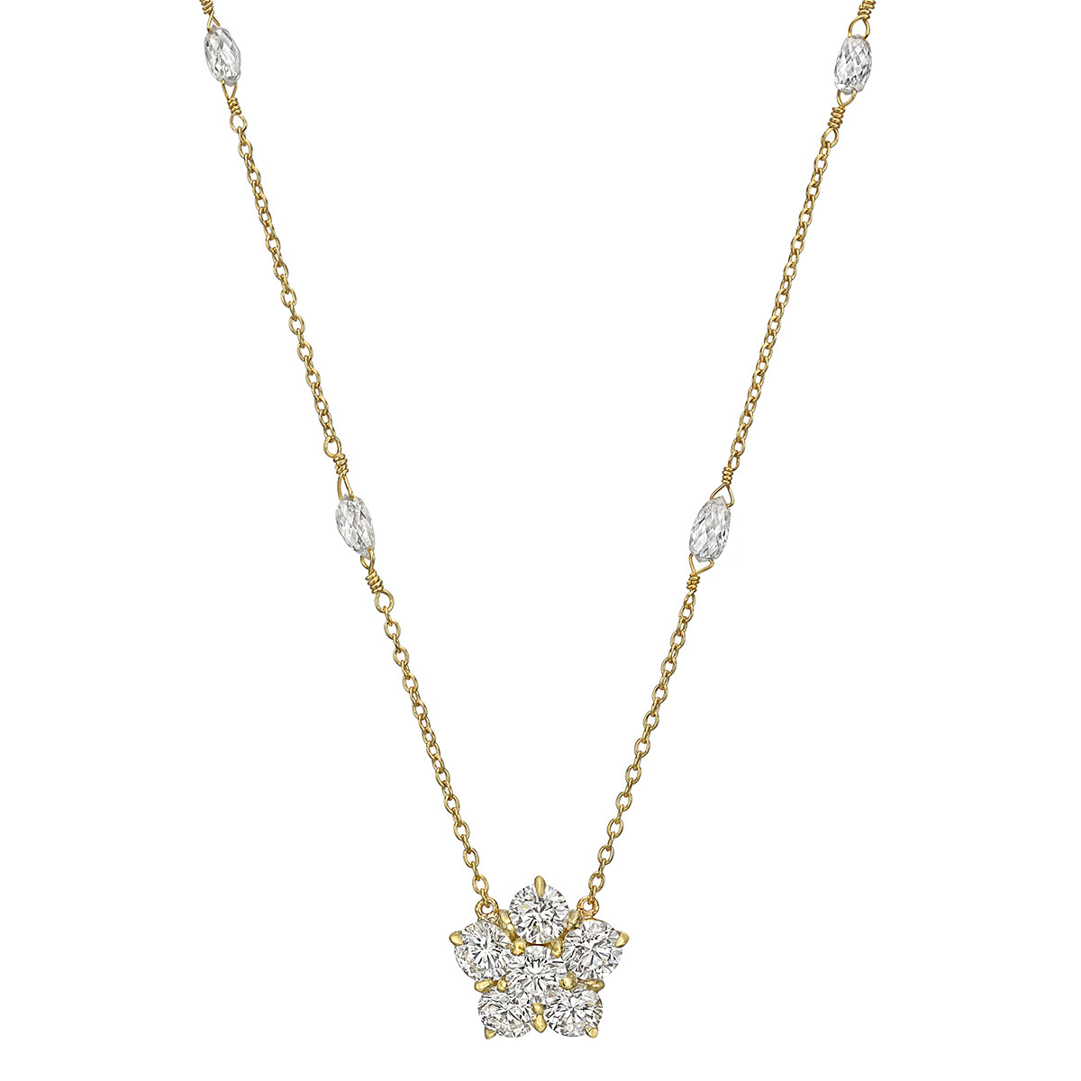 Diamond Cluster Pendant Necklace with Briolette Stations