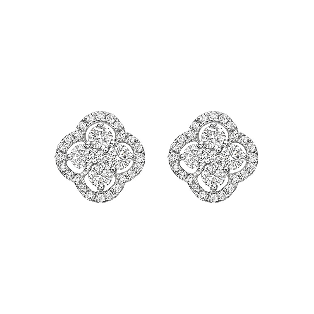 Diamond Cluster Clover Stud Earrings (~1.1 ct tw)