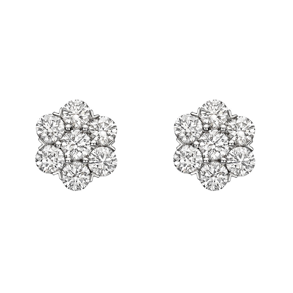 Large Diamond Cluster Earstuds (~3 ct tw)