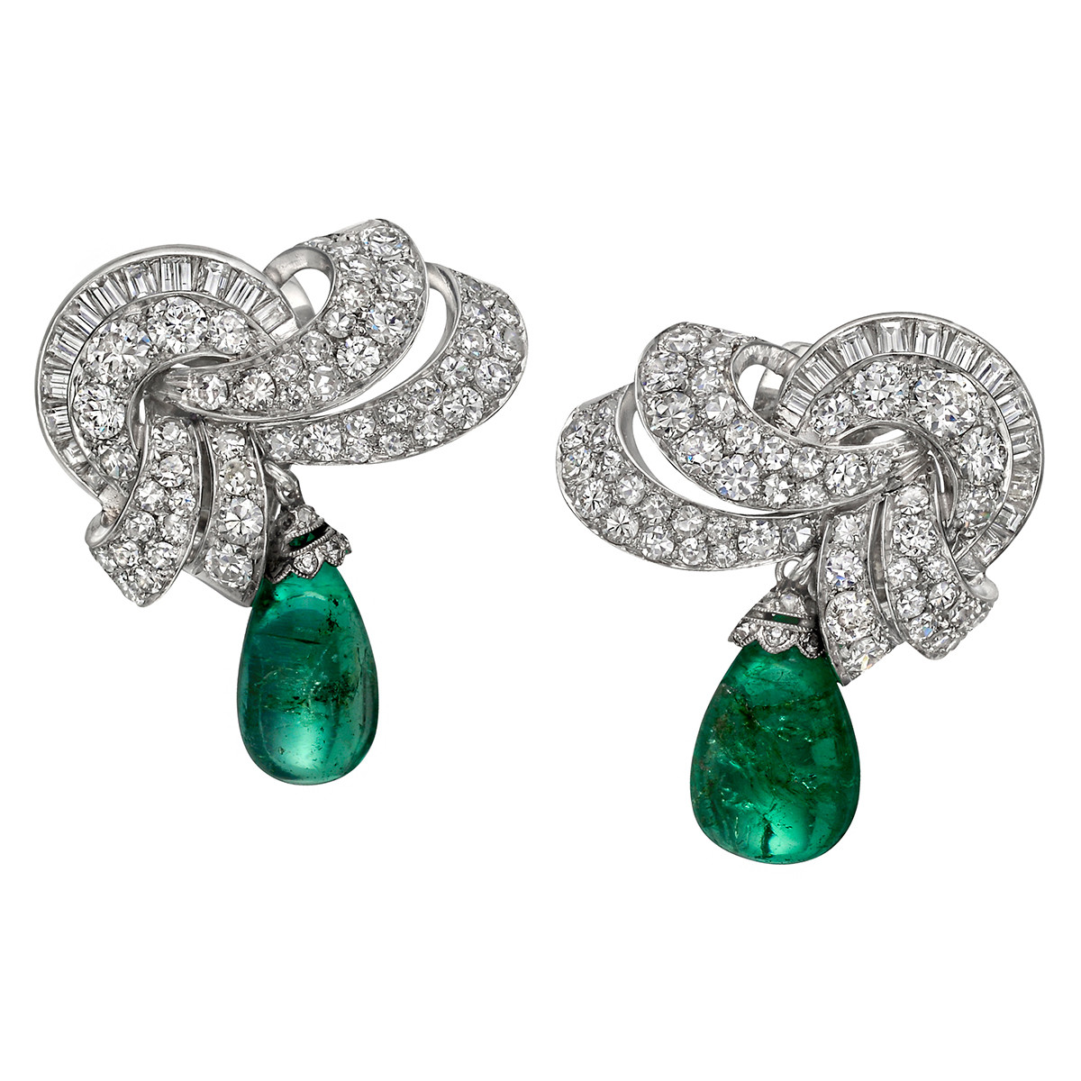 Art Deco Diamond & Emerald Bead Drop Earrings