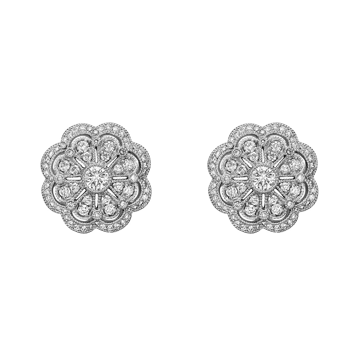 18k White Gold & Diamond Cluster Flower Stud Earrings