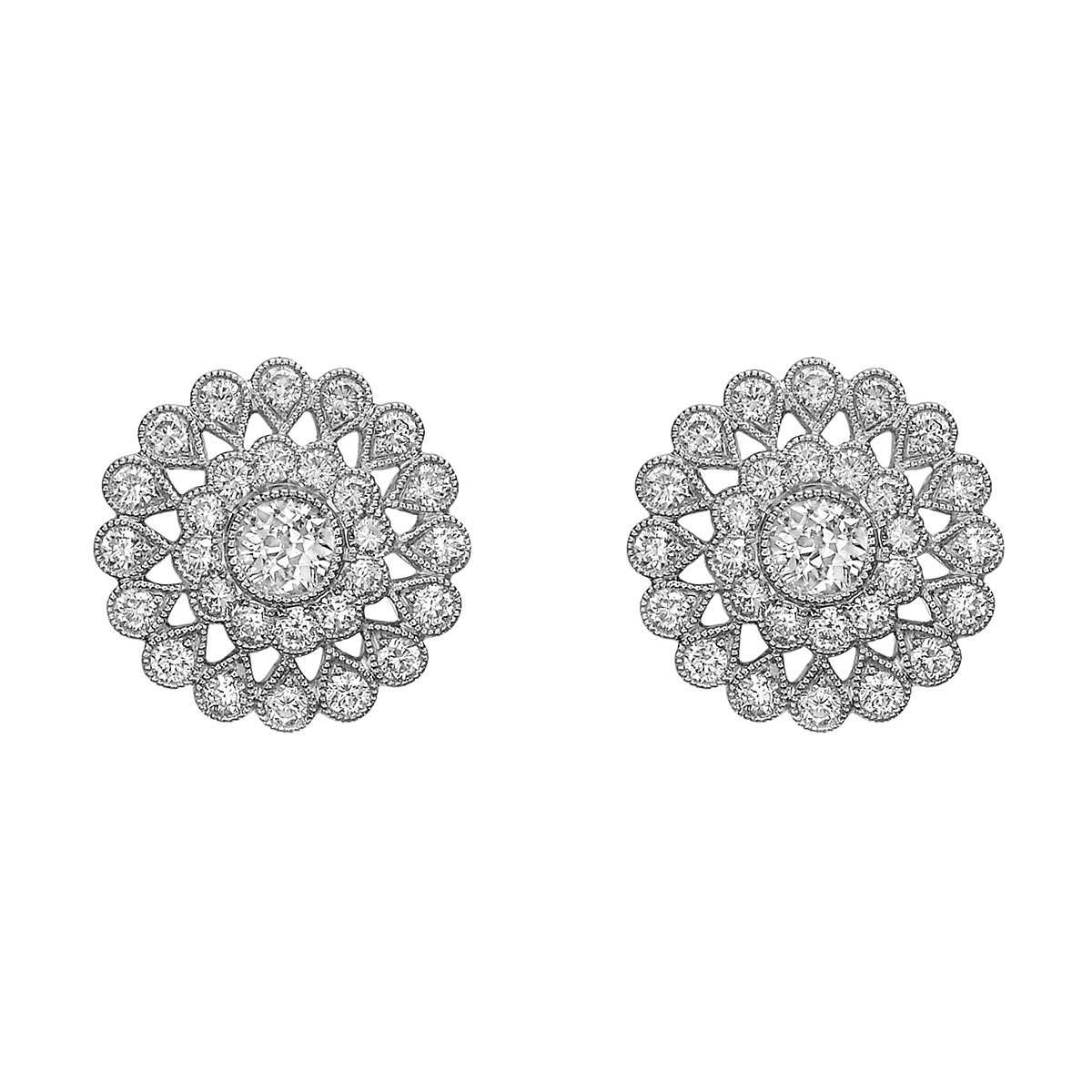 Diamond Cluster Flower Stud Earrings