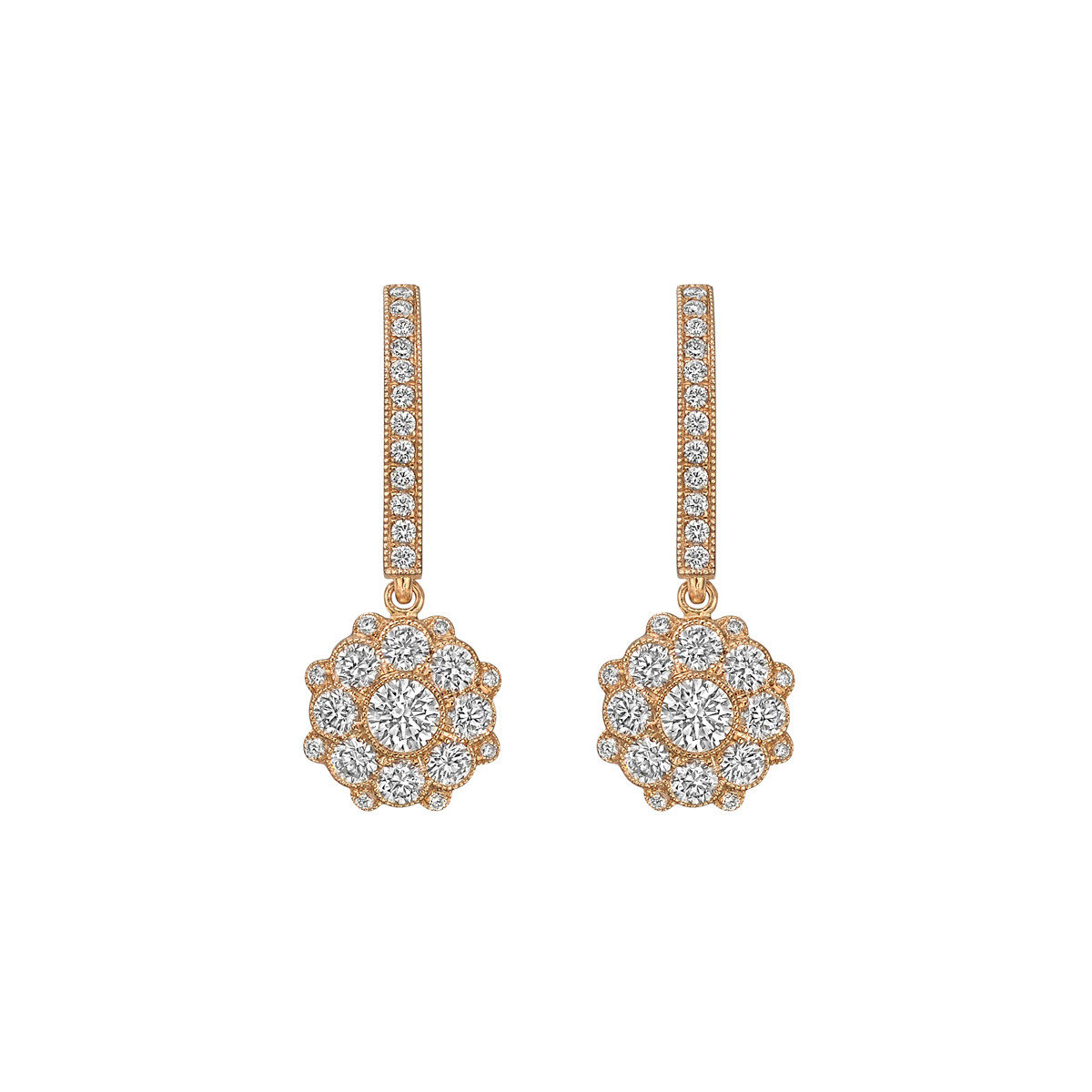 18k Pink Gold & Diamond Cluster Drop Earrings