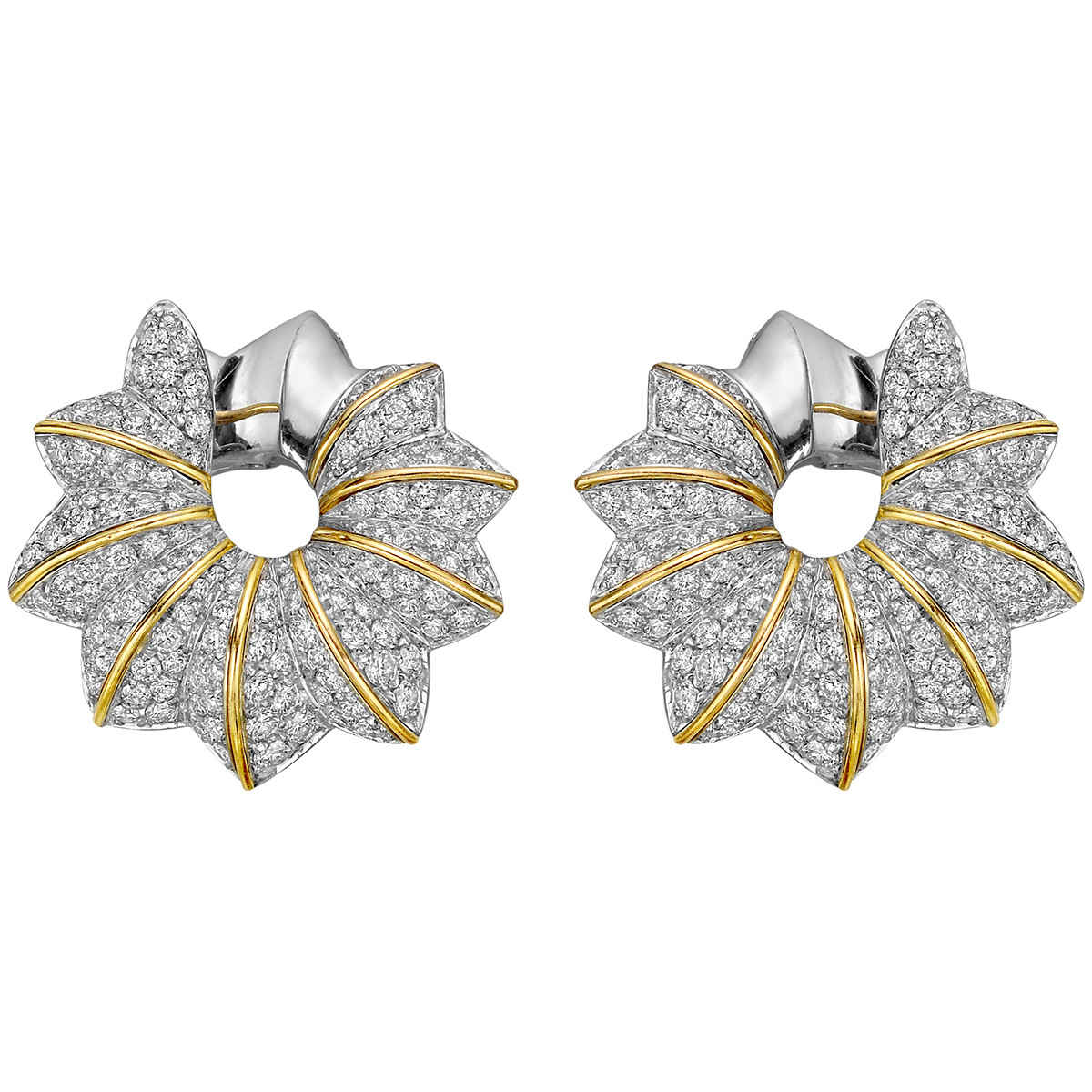 18k Gold & Diamond Creole Earrings