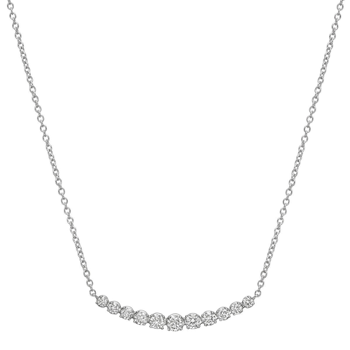 18k White Gold & Eleven Diamond Curved Bar Pendant