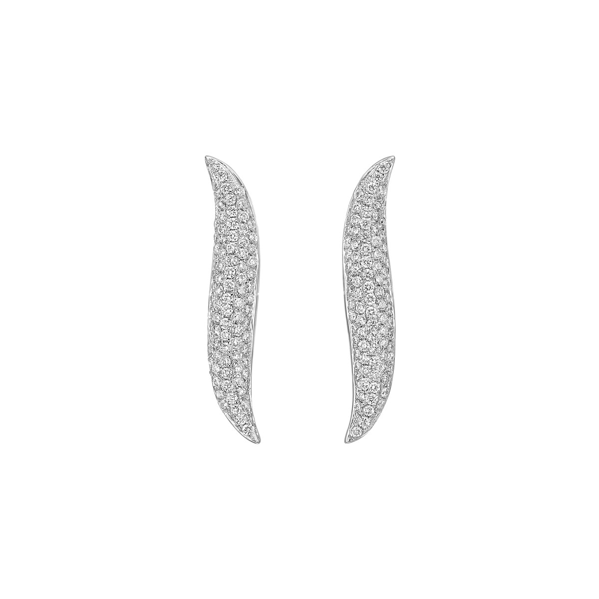 18k White Gold & Diamond Curved Line Earstuds