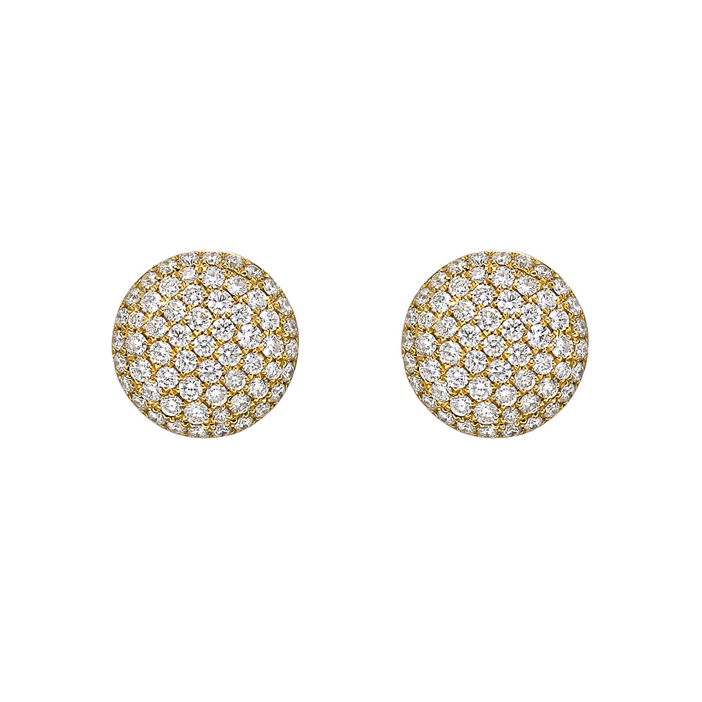Large 18k Yellow Gold & Pavé Diamond Earstuds