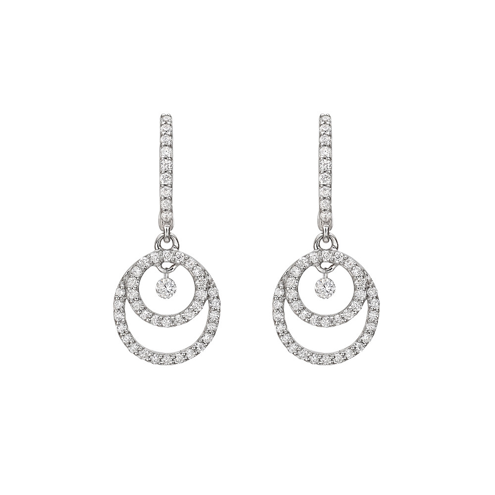 Diamond Double Circle Drop Earrings