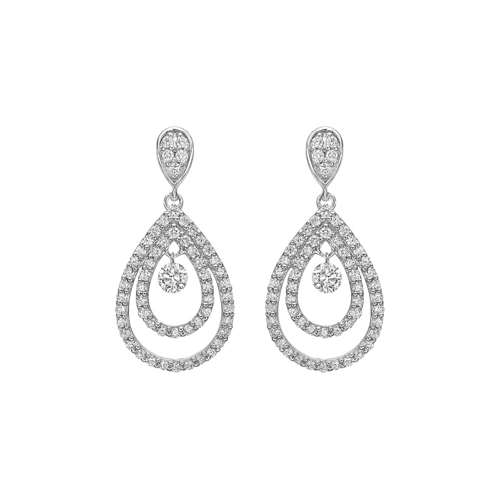 Diamond Double Pear-Shaped Drop Earrings