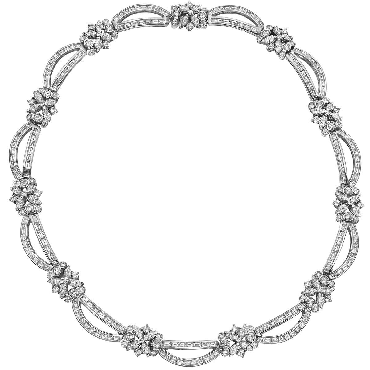 Diamond Cluster & 'Draped' Link Necklace