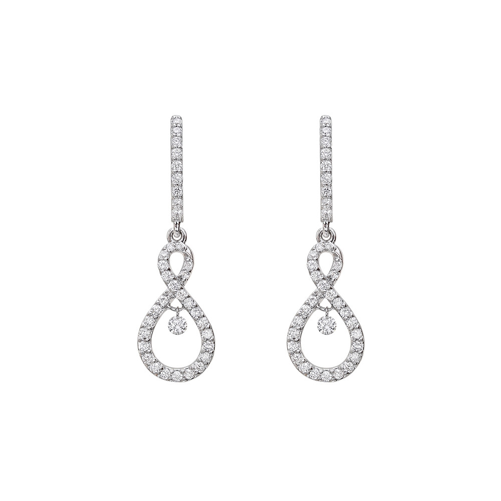 Diamond Figure-8 Drop Earrings