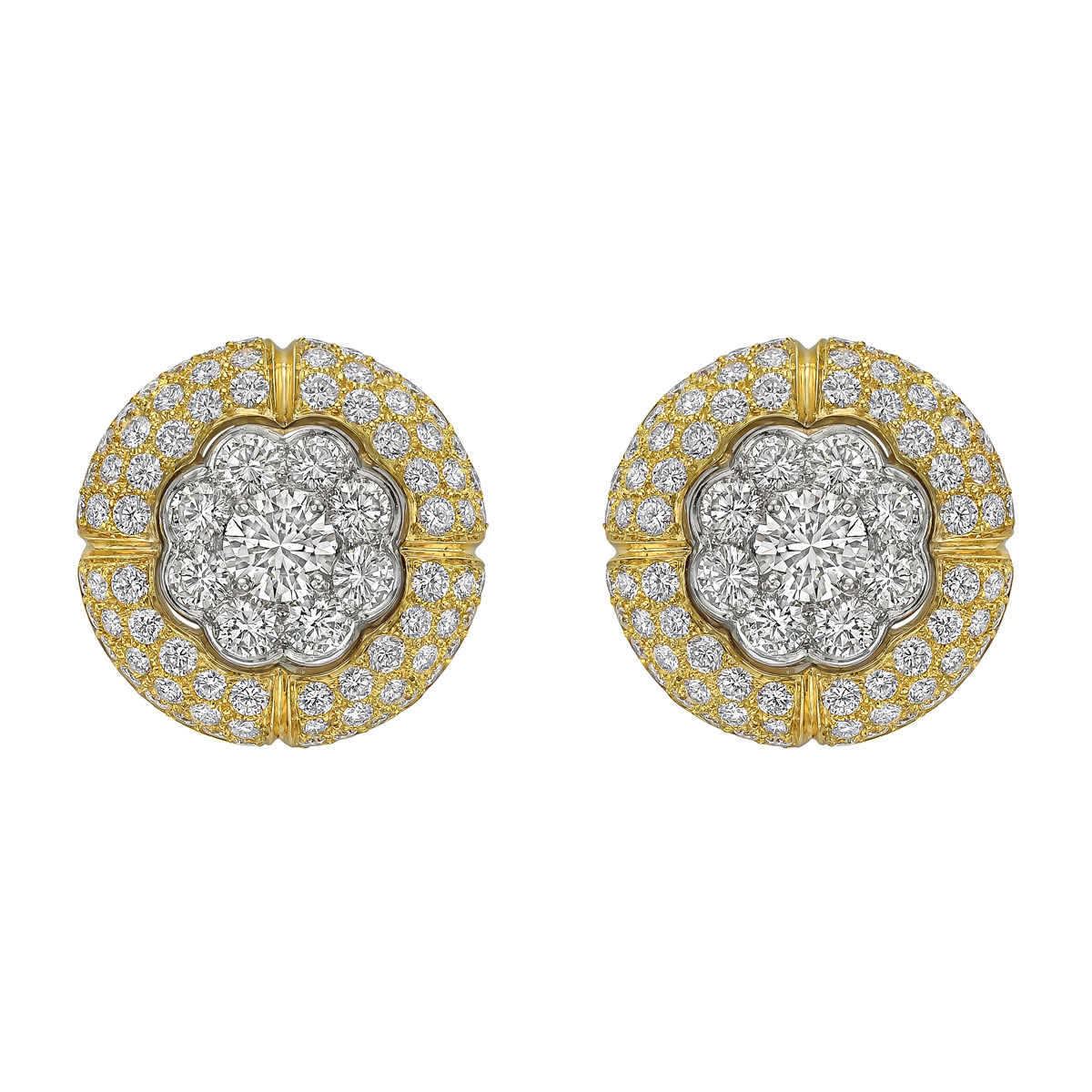 18k White & Yellow Gold Diamond Cluster Earrings
