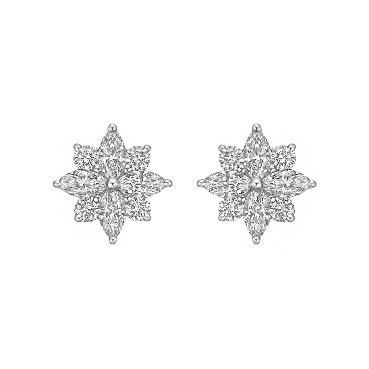 Small Diamond Flower Cluster Earstuds