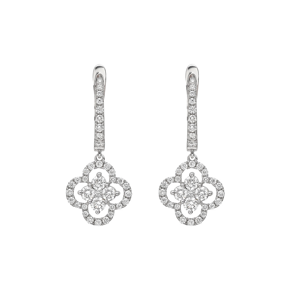 Diamond Cluster Clover Drop Earrings