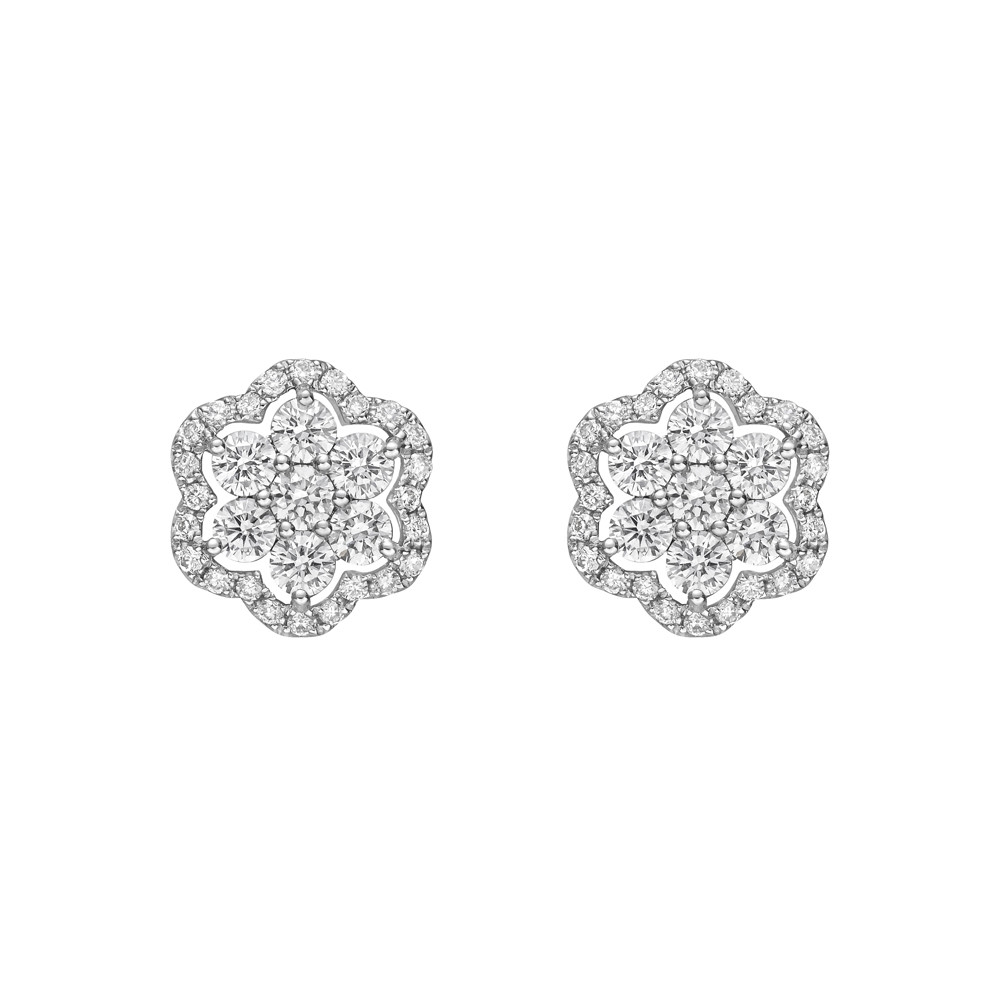 Small Diamond Flower Cluster Earstuds (0.80ct tw)