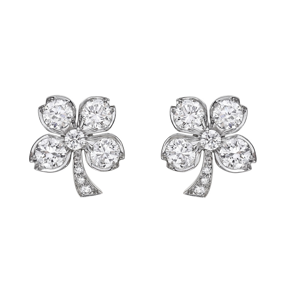 Diamond Four Leaf Clover Earrings