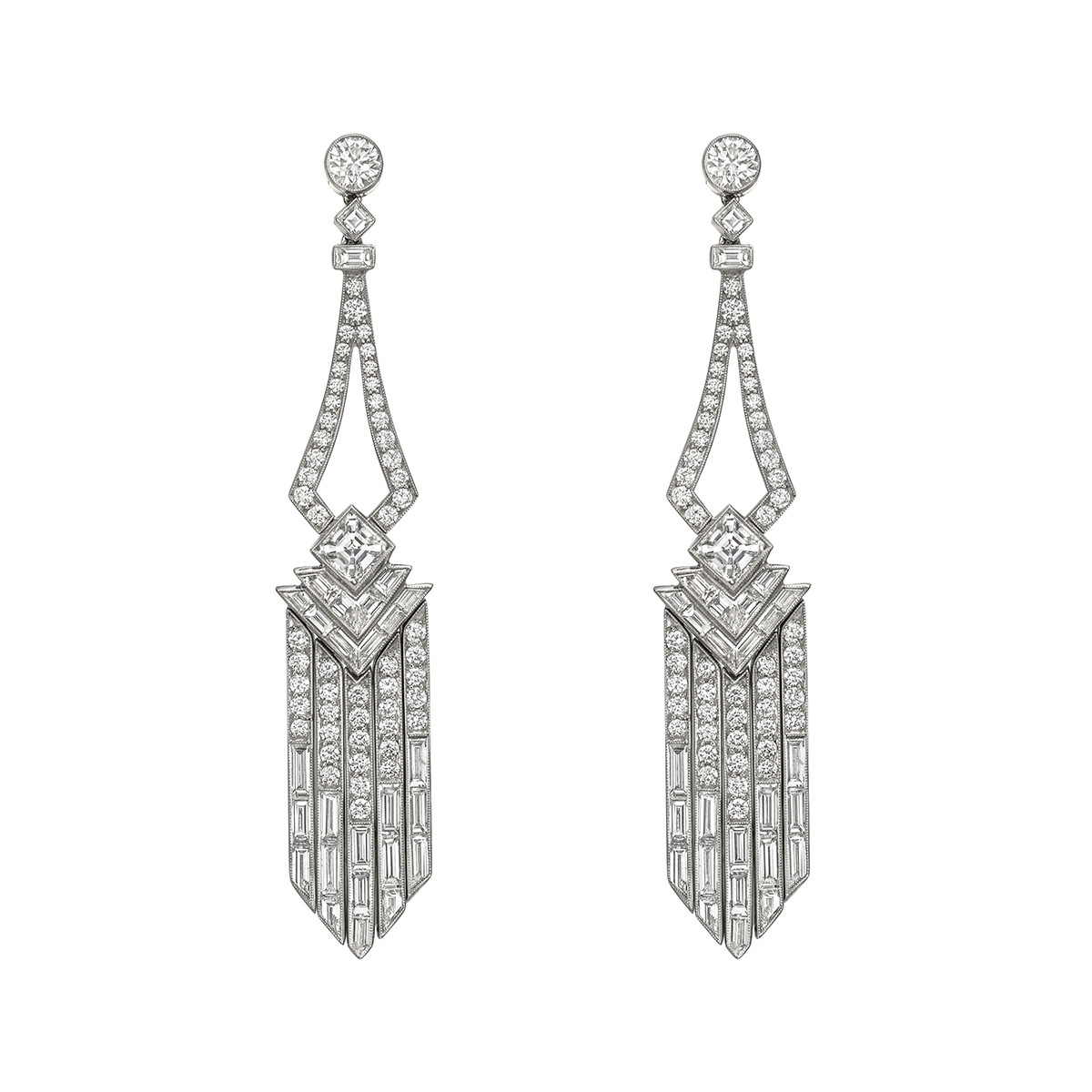 Diamond Fringe Drop Earrings