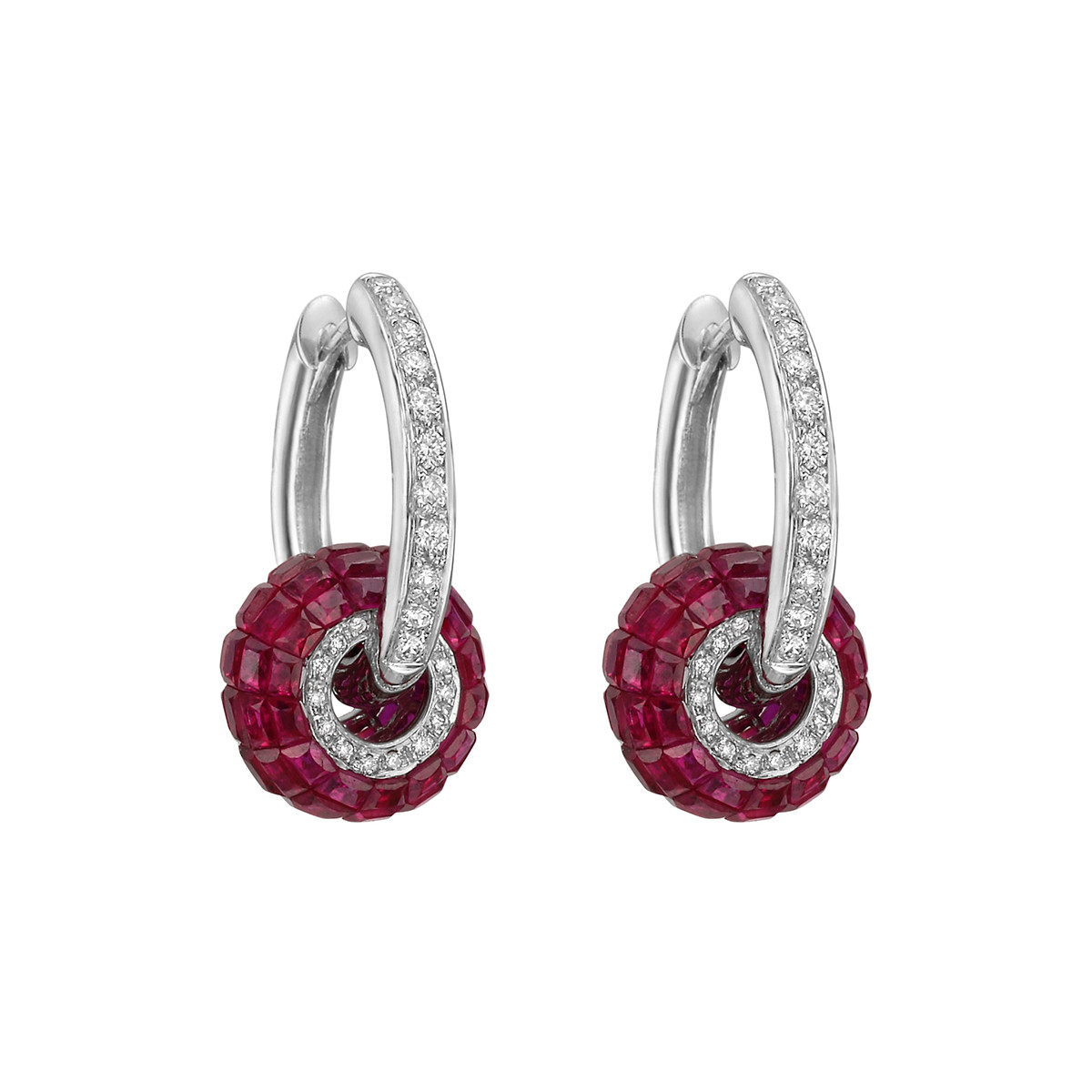 Diamond Hoop Earrings with Invisibly-Set Ruby Ring