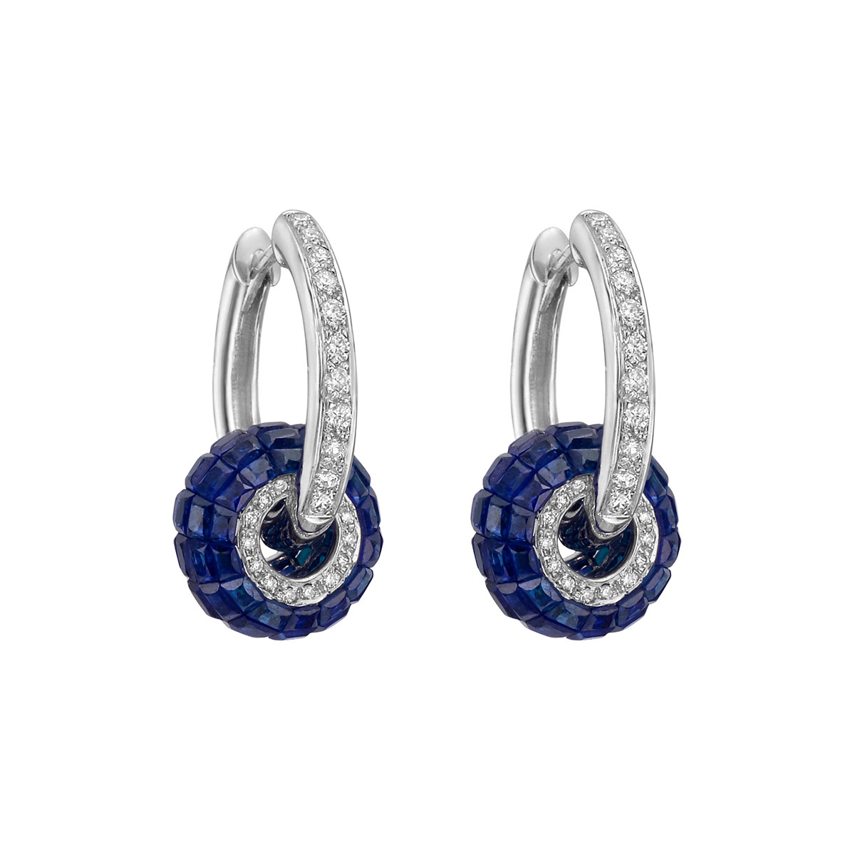 Diamond Hoop Earrings with Invisibly-Set Sapphire Ring
