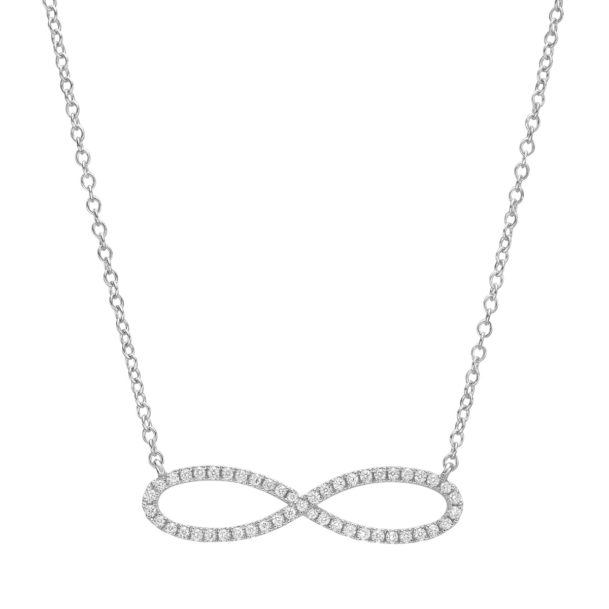18k White Gold & Diamond Infinity Pendant