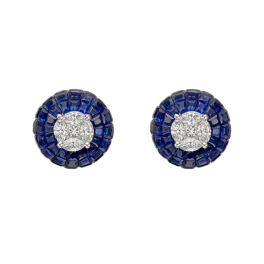 Diamond & Invisibly-Set Sapphire Domed Stud Earrings