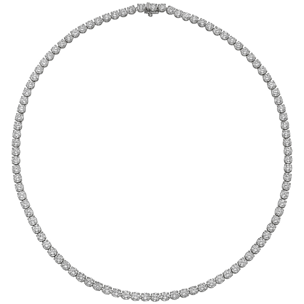 Round Brilliant Diamond Line Necklace (~19.6 ct tw)