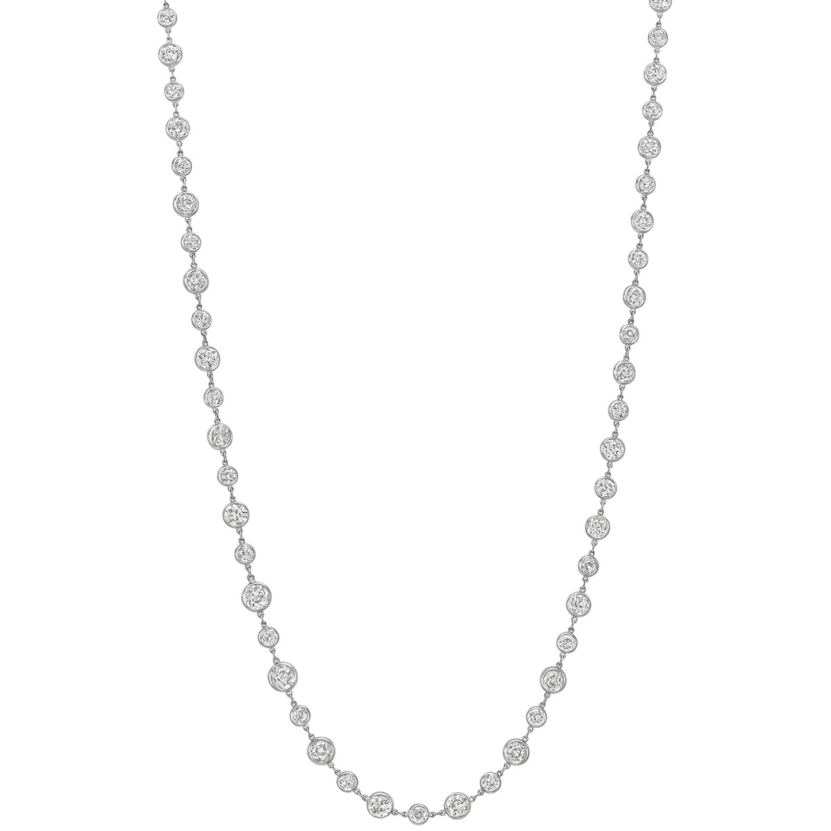 Larger & Smaller Diamond Chain Necklace (~37.20 ct tw)