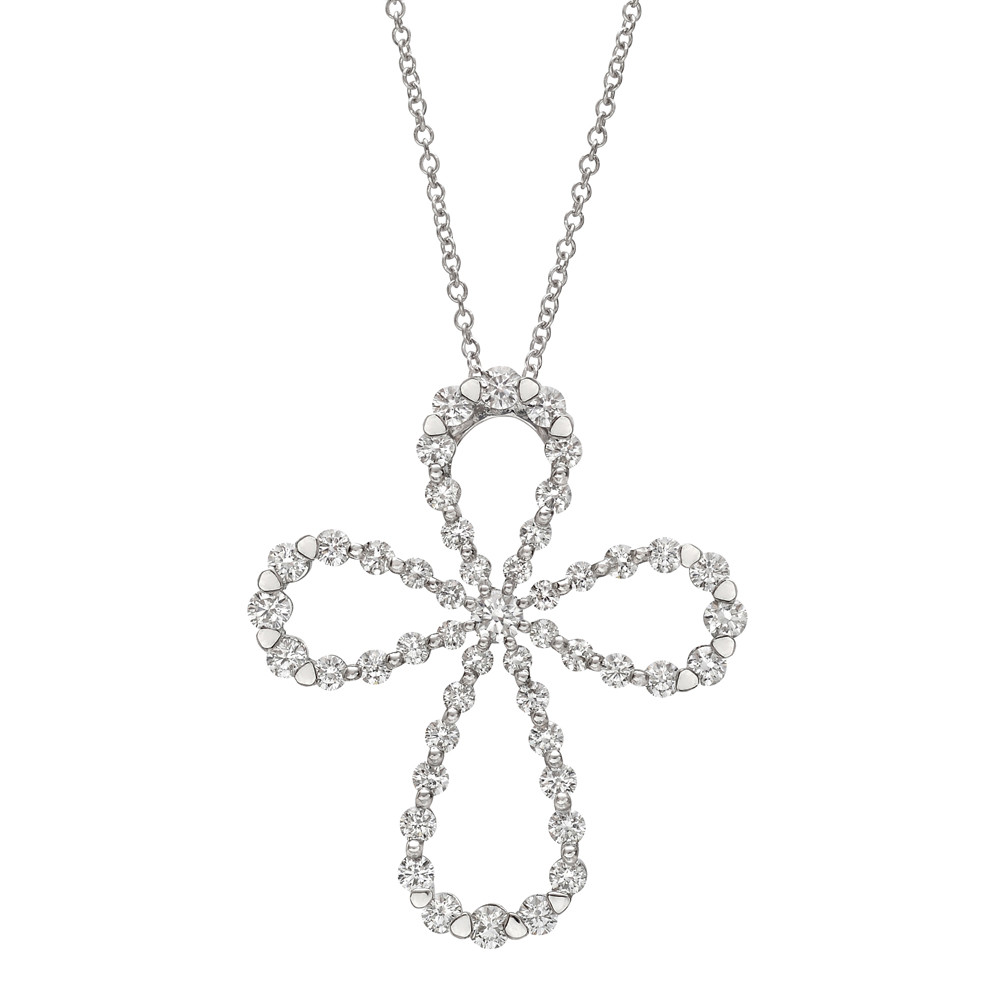 Large 18k White Gold & Diamond Maltese Cross Pendant