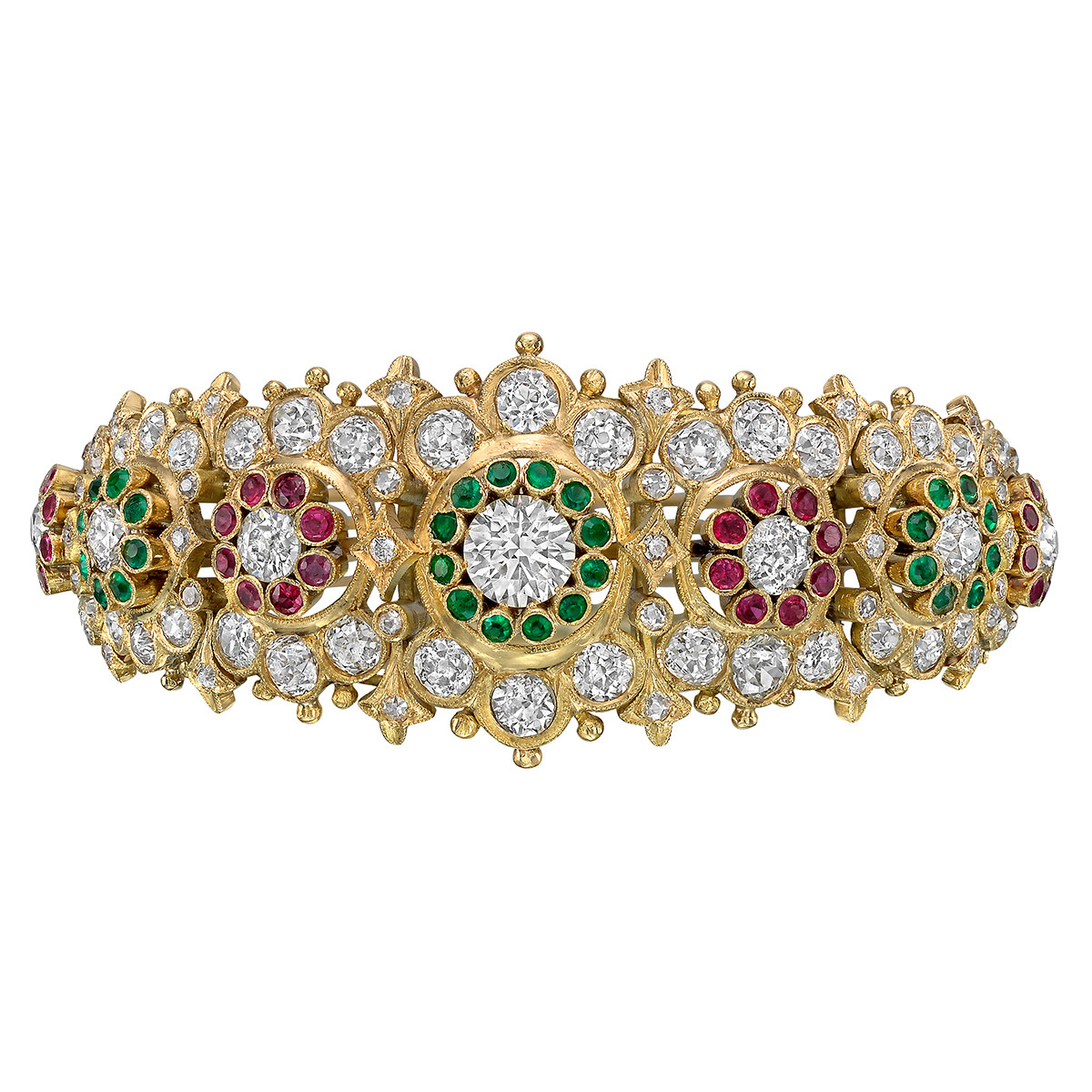 Diamond & Multicolored Gemstone Foliate Bangle