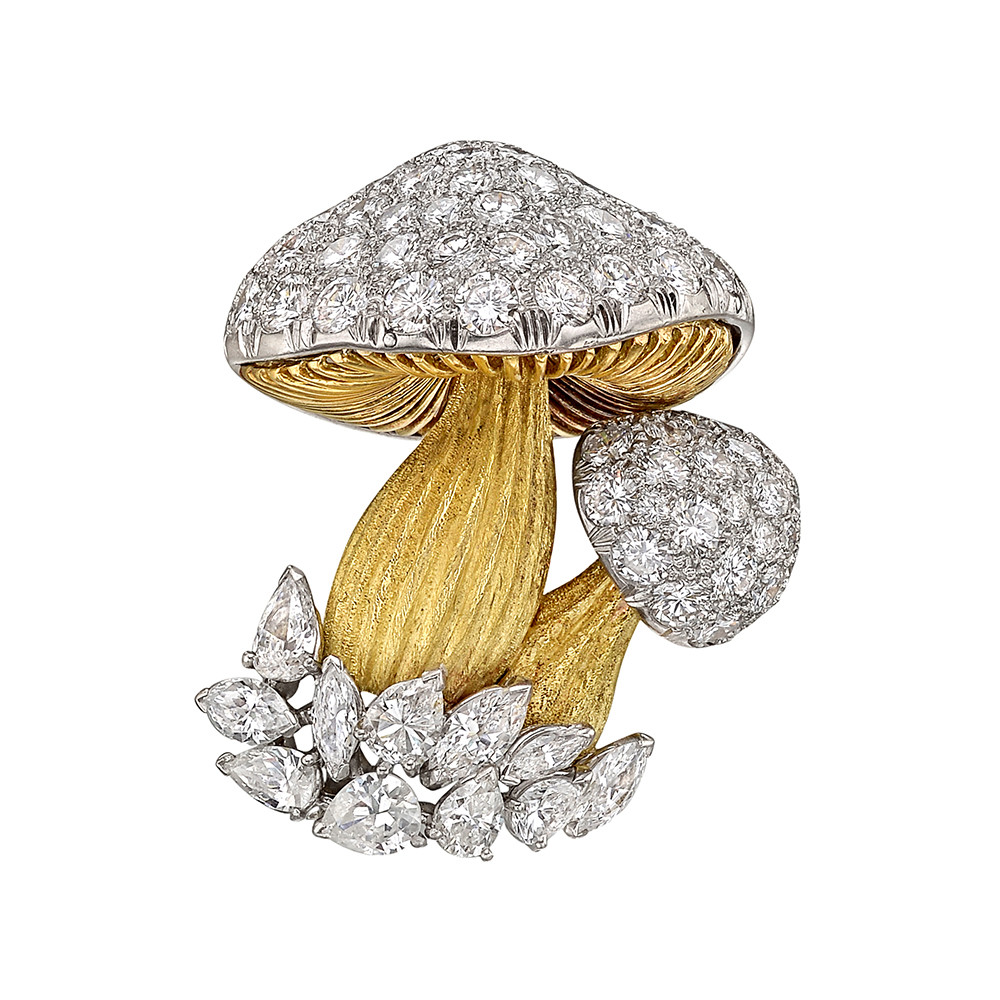 18k Gold, Platinum & Diamond Mushroom Brooch