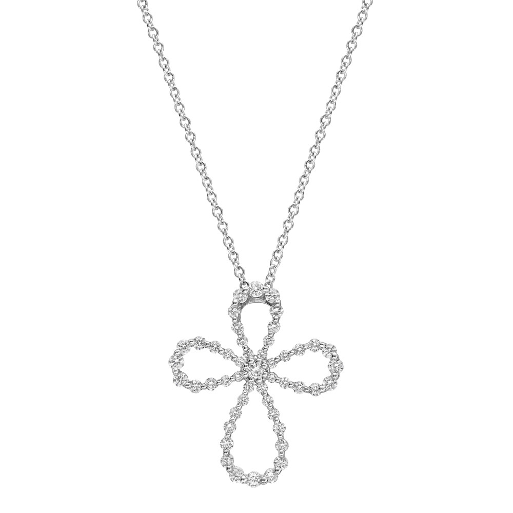 Small 18k White Gold & Diamond Maltese Cross Pendant
