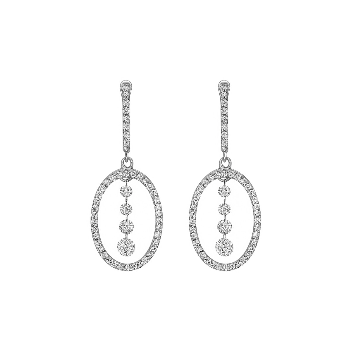Diamond Oval-Shaped Drop Earrings