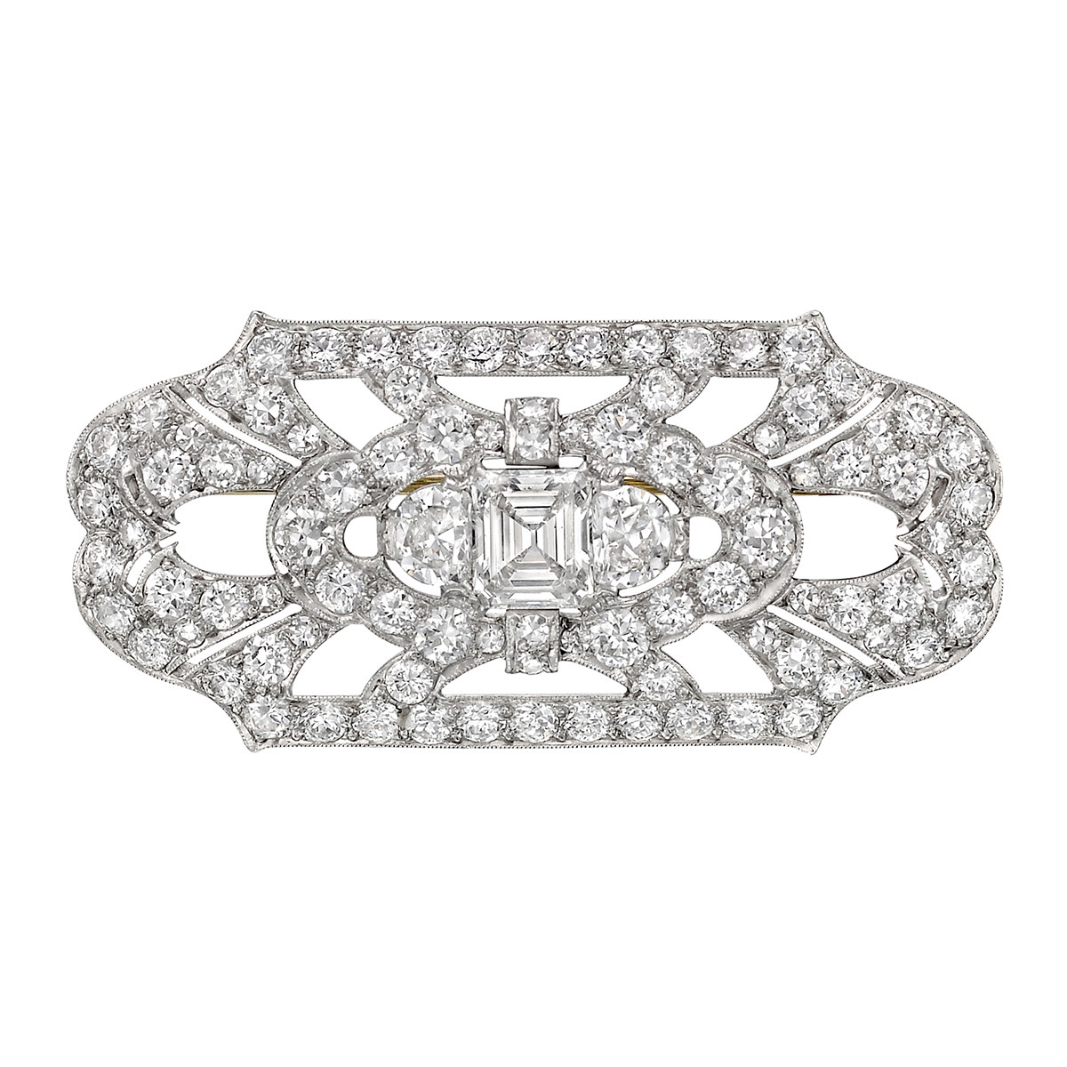 Diamond Panel Brooch (~6 ct tw)