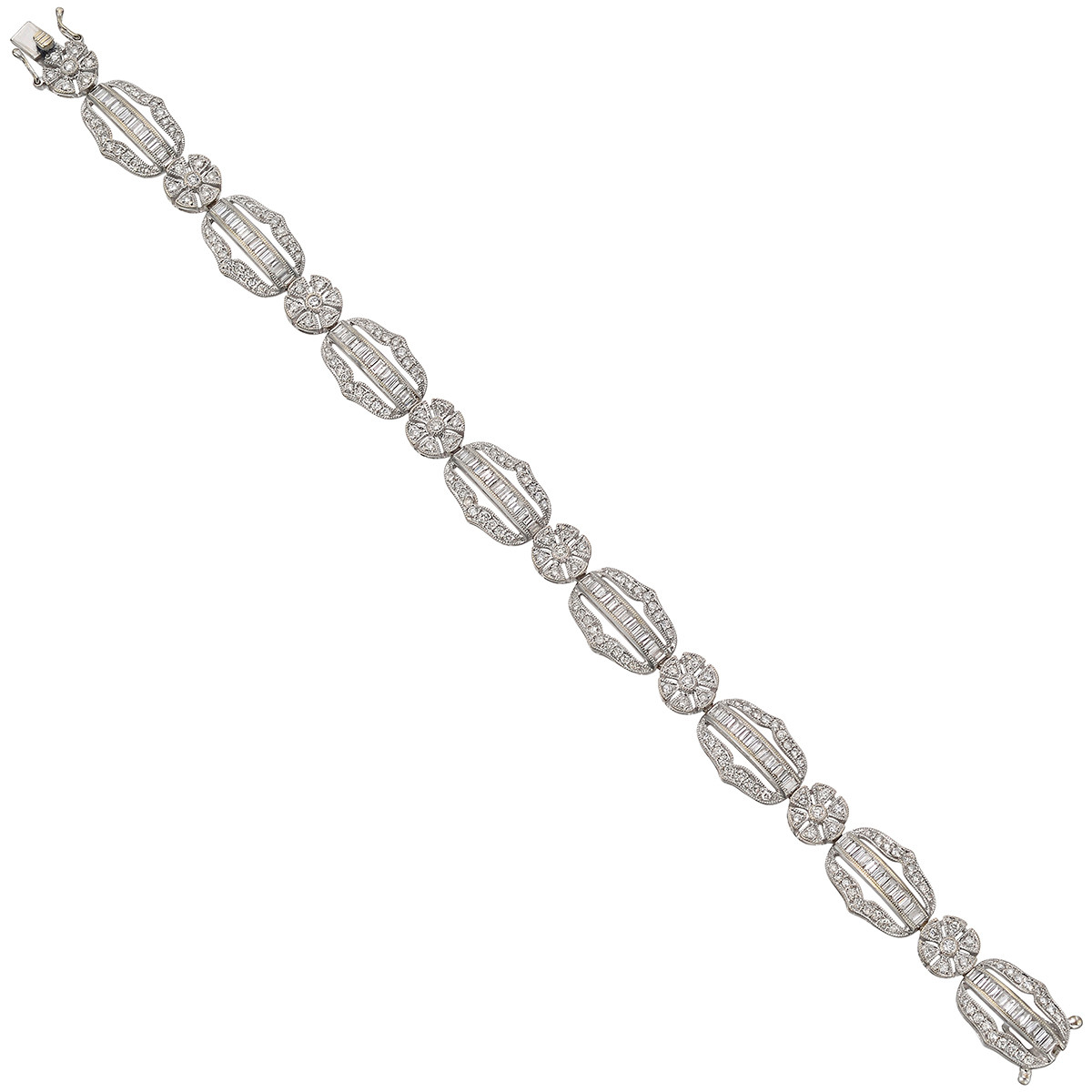 Diamond Panel Link Bracelet (~5 ct tw)