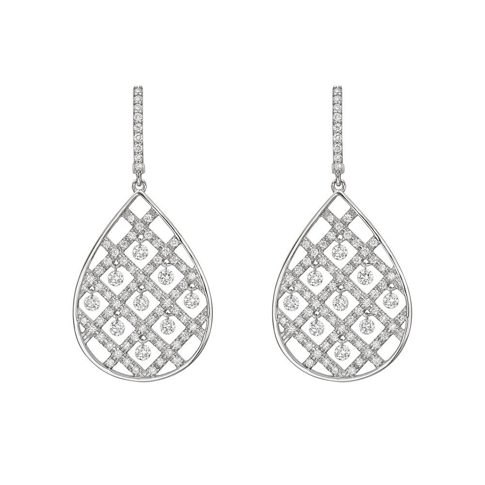 Diamond Pear Criss Cross Drop Earrings