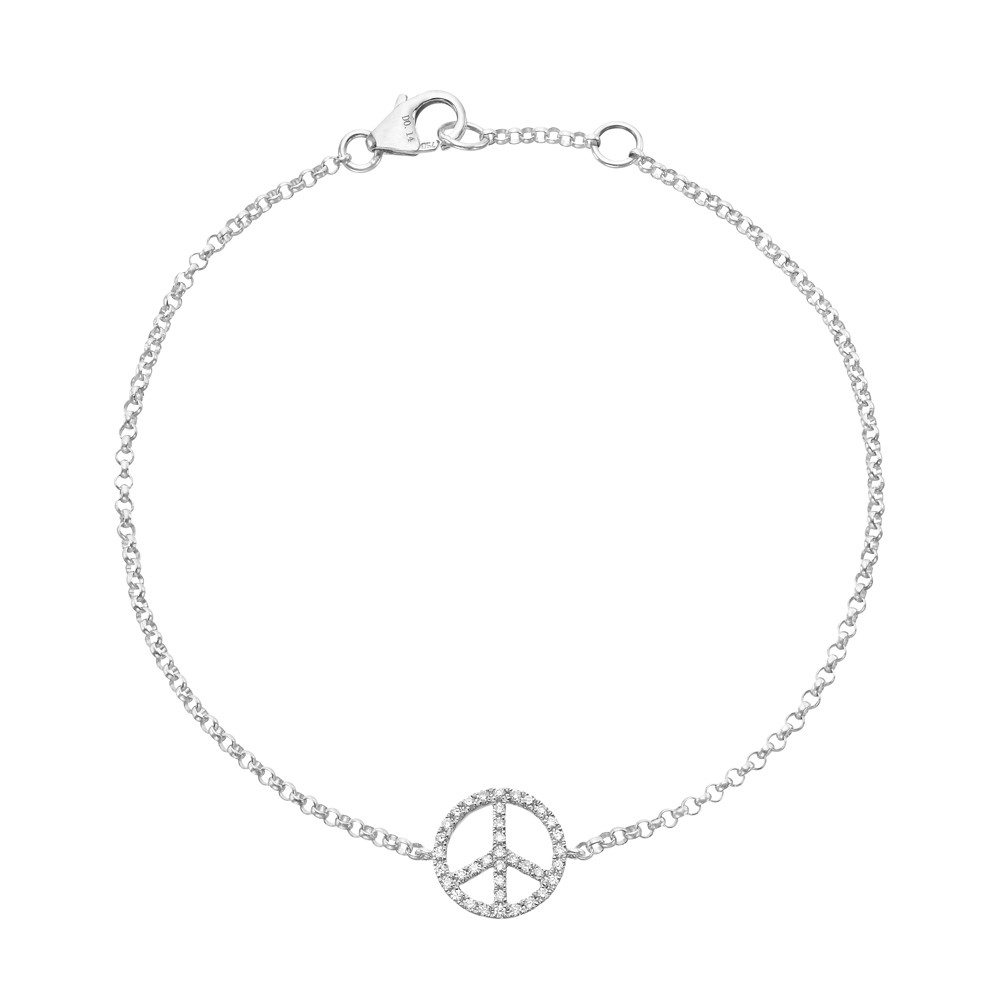 ​18k White Gold & Diamond Peace Sign Bracelet