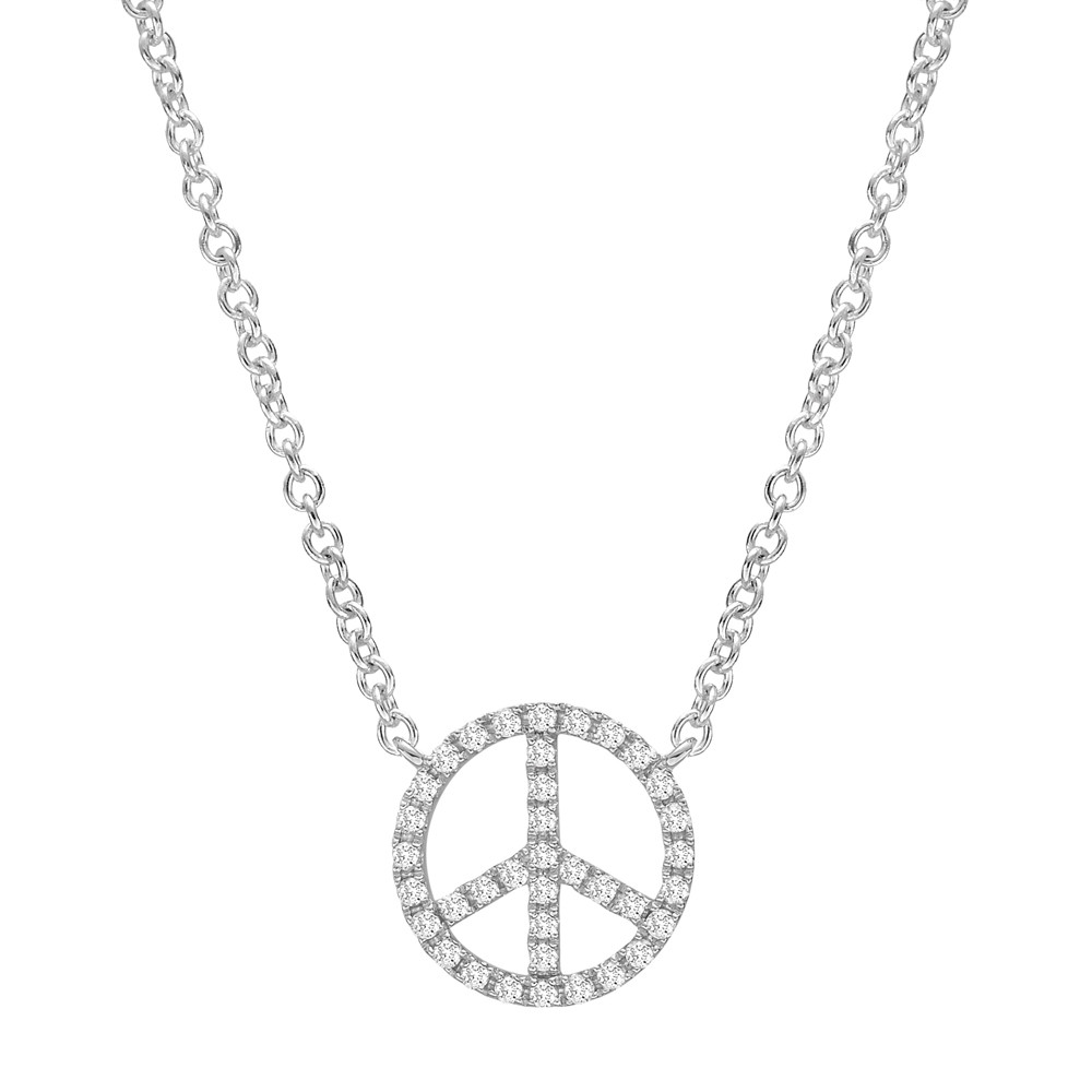​​18k White Gold & Diamond Peace Sign Pendant